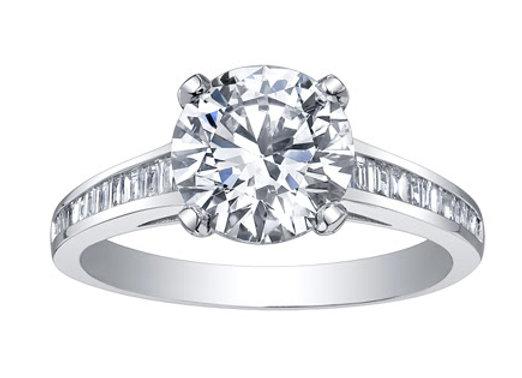 Brilliant Cut Diamond Ring with Baguette Diamond Band