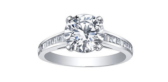 Brilliant Cut Diamond Ring with Baguette Diamond Band