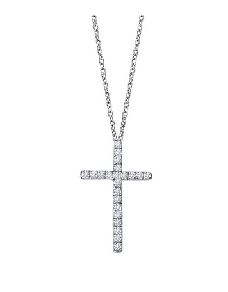 Simulated Diamond Silver Cross Necklace