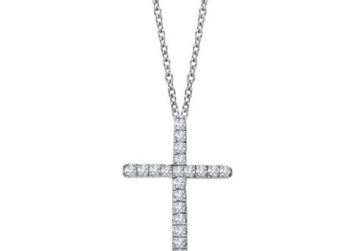 Simulated Diamond Silver Cross Necklace