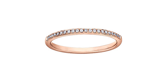 Rose Gold Channel Claw-set Diamond Stackable Ring