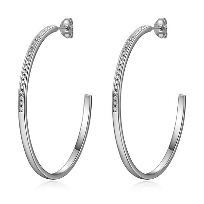Silver Stud 'C' Round Hoops With Cubic Zirconia Accent