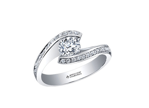 Canadian Solitaire Bypass Diamond Engagement Ring