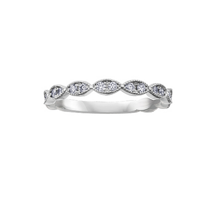 White Gold Tapered Diamond Stackable Ring