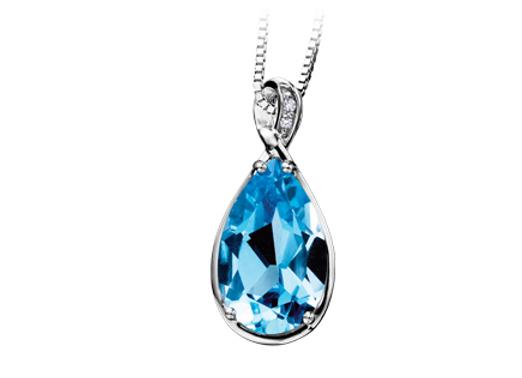 Pear Cut Blue Topaz Pendant