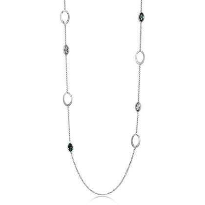 Silver Blue Swarovski Marquise Stationed Necklace