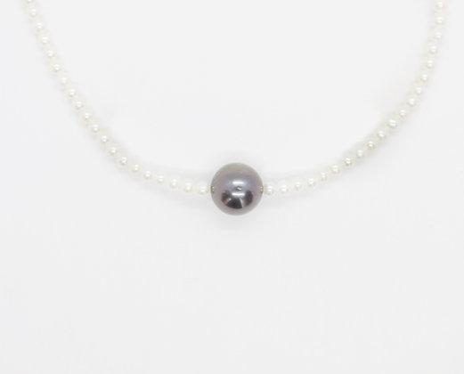 Tahitian Black Pearl & Natural Pearl Strand Necklace