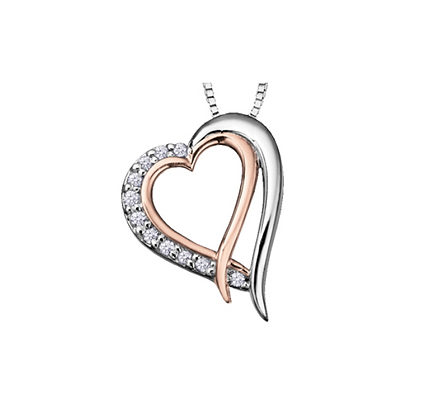 Two Tone Double Heart Canadian Diamond Pendant