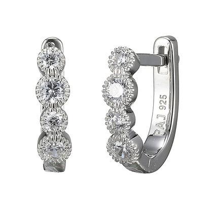 Silver Round Cubic Zirconia Latch Back Earrings
