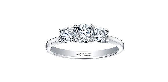 Platinum Canadian Diamond Trinity Engagement Ring