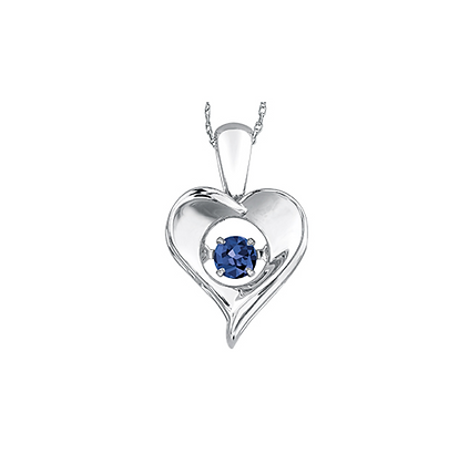 Silver Heart Pendant With Suspended Sapphire