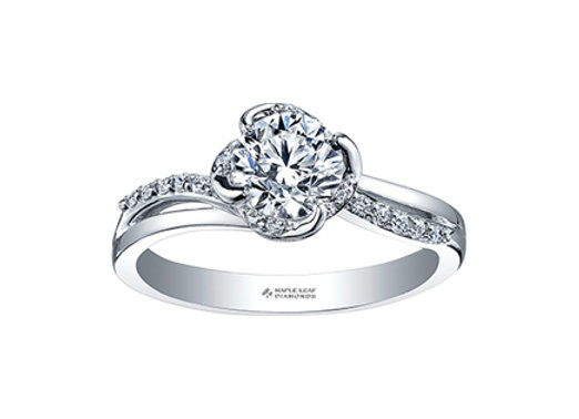 Canadian Diamond Solitaire Winds Embrace Engagement Ring