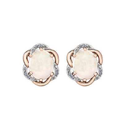 Oval Opal Earrings With Rose Gold & Diamond Halo