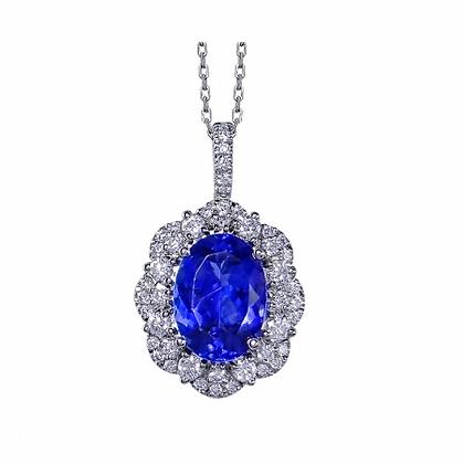 Oval Cut Tanzanite & Diamond Pendant