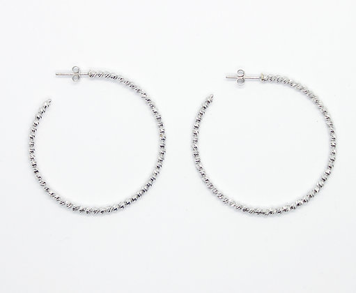 White Gold Textured Bead Hoops (40mm)