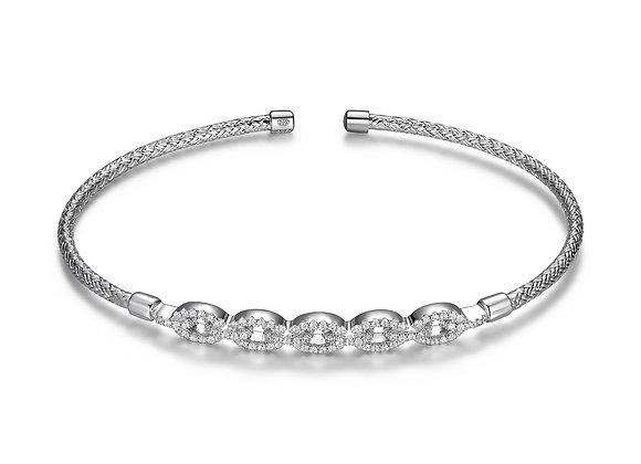 Silver CZ Chain Link Bangle