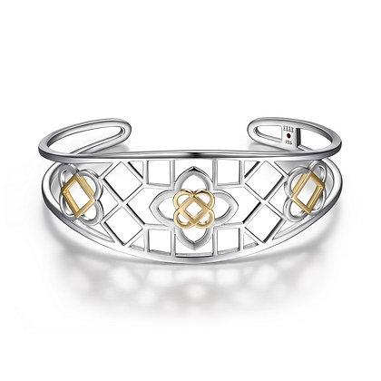 Two Tone Silver Florence Motif Bracelet