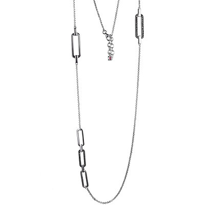 Silver Necklace With Black CZ Oval Details