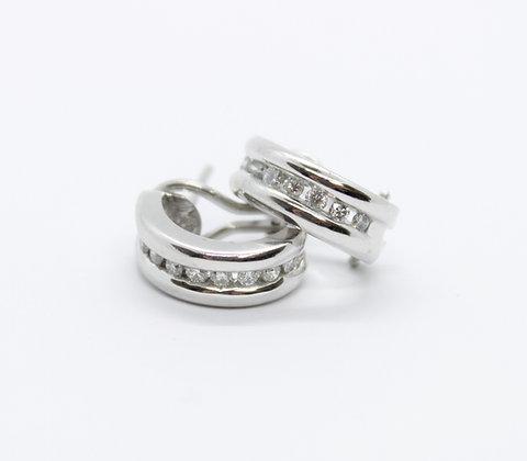 Channel Set Diamond Half Hoop Earrings