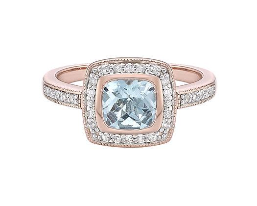 Rose Gold Cushion Blue Topaz & Diamond Halo Ring