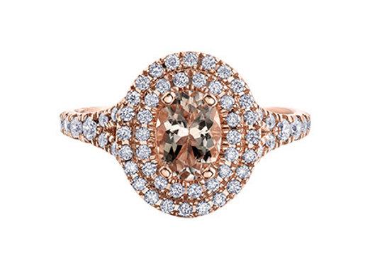 Morganite Oval Diamond Halo Ring