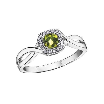 Cushion Cut Peridot Ring with Diamond Halo