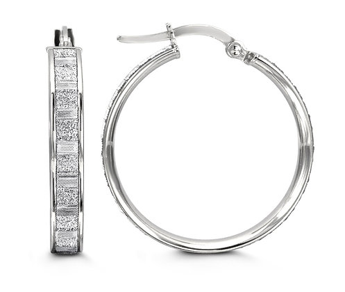 White Gold Sparkle Textured Hoops