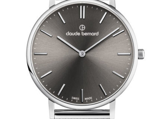 Grey Dial Metal Mesh Bracelet Watch by Claude Bernard