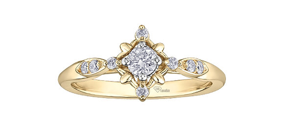 Round Cut Diamond Ring Yellow Gold With Accent Diamonds