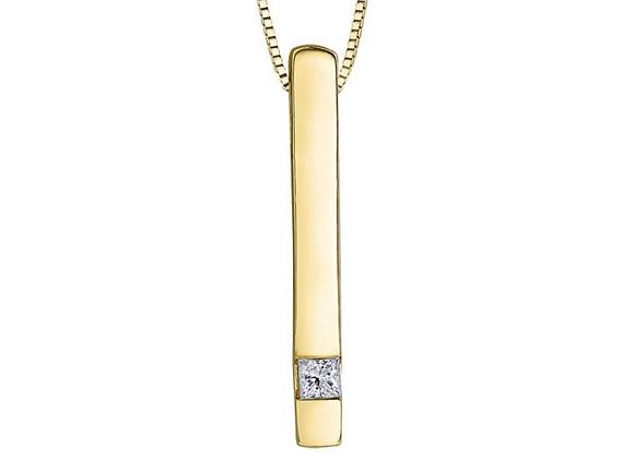 Princess Cut Diamond Bar Pendant