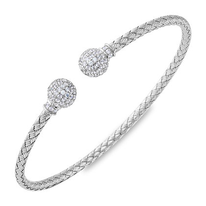 Silver Woven Bangle With Cubic Zirconia Accents