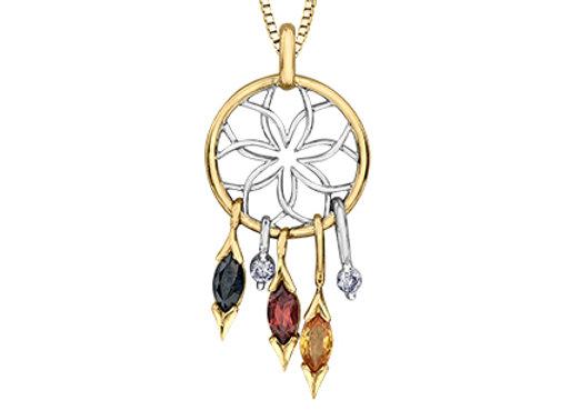 Dream Catcher Diamond & Gemstone Pendant