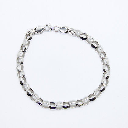 White Gold Fancy Rolo Link Bracelet
