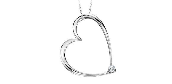 Silver Large Thin Heart Pendant with Canadian Diamond