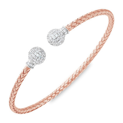 Rose Gold Woven Bangle With Cubic Zirconia Accents