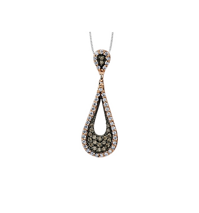 Rose Gold & Black Enhanced Teardrop Diamond Pendant