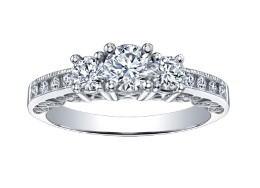 Canadian Diamond Trinity Engagement Ring with Surprise Diamonds