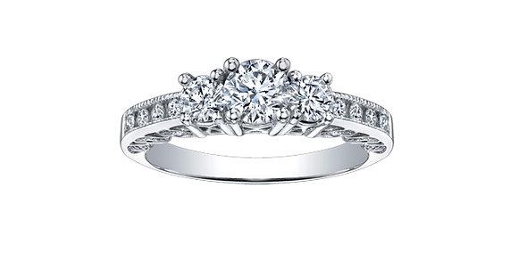Canadian Diamond Trinity Engagement Ring with Surprise Diamonds