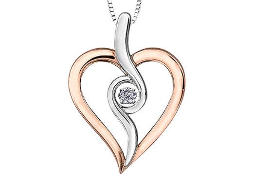 Silver & Rose Gold Heart Canadian Diamond Pendant