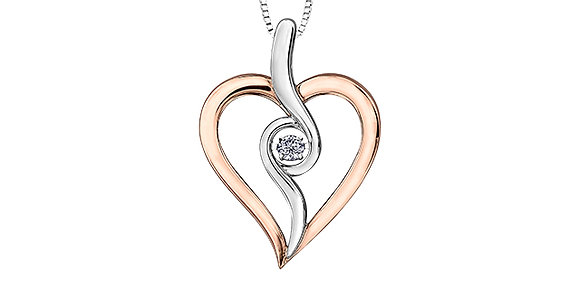 Silver & Rose Gold Heart Canadian Diamond Pendant