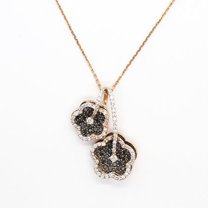 Black Diamond Double Flower Pendant