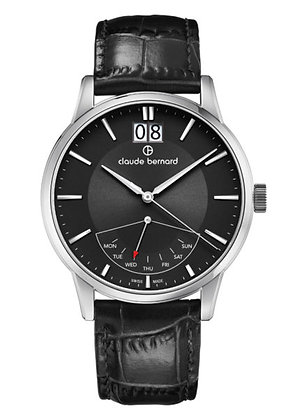 Black and Silver Leather Watch by Claude Bernard