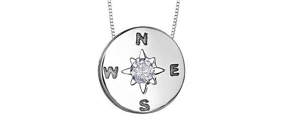 Silver Round Compass Canadian Diamond Pendant