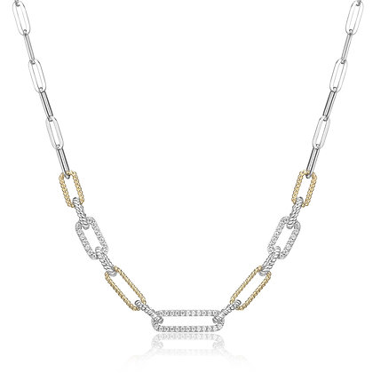Two Tone Silver Twist & Cubic Zirconia Paper Clip Necklace