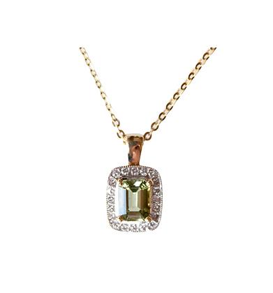 Emerald Cut Green Tourmaline Pendant