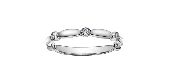White Gold Tapered Bezel Set Diamond Stackable Ring