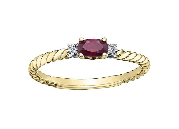 Oval Ruby Yellow Gold Rope Ring