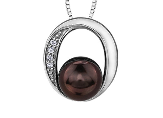 Black Pearl & Diamond Pendant