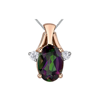 Oval Cut Mystic Topaz & Diamond Pendant