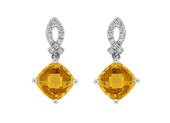 Cushion Cut Citrine Drop Earrings